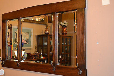 Arts and Crafts Mission Oak Bevelled Mirror with hooks for Hat / Coats - Crafters & Weavers - 1