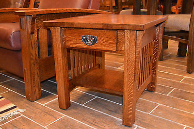 Arts and Crafts / Crofter Style Quarter Sawn Oak End Table - Crafters & Weavers - 1