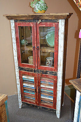 Rustic Distressed Reclaimed Wood Curio Glass Cabinet / China Cabinet / Hutch