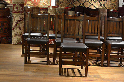 Arts and Crafts set of 10 Mission Oak Dining Chairs - Crafters & Weavers - 1