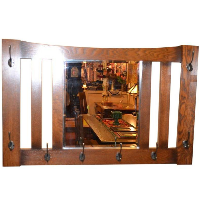 Arts and Crafts Mission Oak Beveled Mirror with Hooks for Hat / Coats OP9