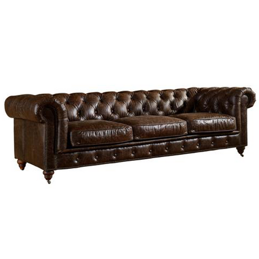 PREORDER Century Chesterfield Sofa - Dark Brown Leather - Crafters and Weavers