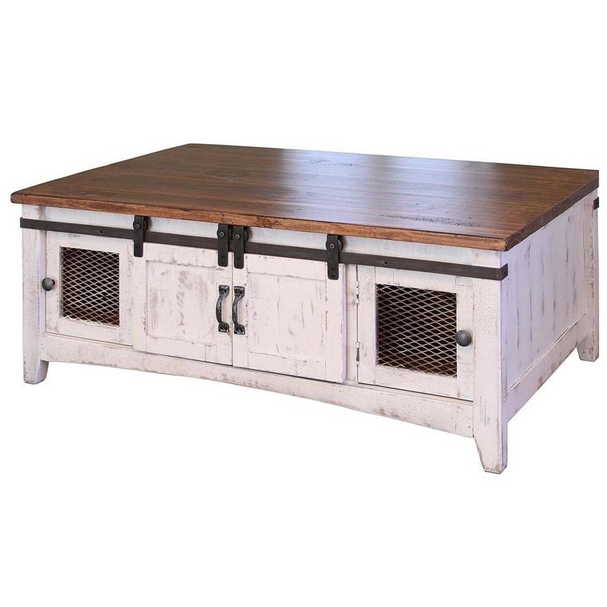 - Distressed White Coffee Table Solid Wood Industrial Farmhouse Style —  Crafters And Weavers