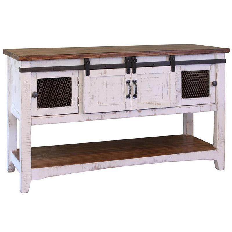 White Farmhouse Sliding Door Cabinet: Rustic Solid Reclaimed Wood 8 Drawer Painted TV Stand