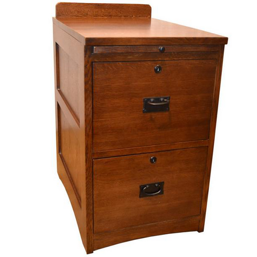 Mission Oak 2 Drawer File Cabinet w/ Writing Tray - Crafters and Weavers