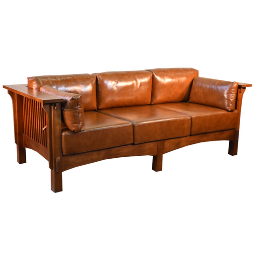 Arts and Crafts / Craftsman Crofter Style Sofa - Russet Brown Leather (RB1) - Crafters and Weavers