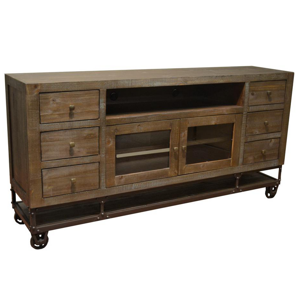 Greenview 76 inch Forged Iron Base TV Stand