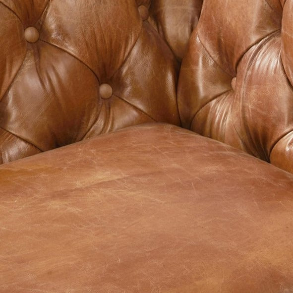 Olivia Contemporary Tufted Chesterfield Arm Chair - Light Brown Leather