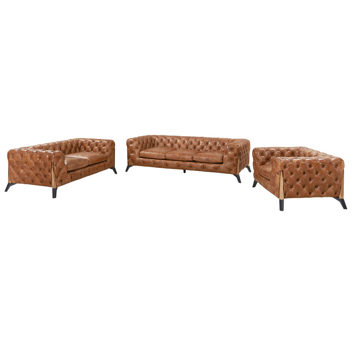 Olivia Contemporary Tufted Chesterfield Sofa - Light Brown Leather