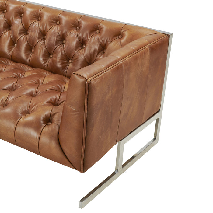 NEW! Conrad Modern Steel Base Chesterfield Sofa - Light Brown Leather