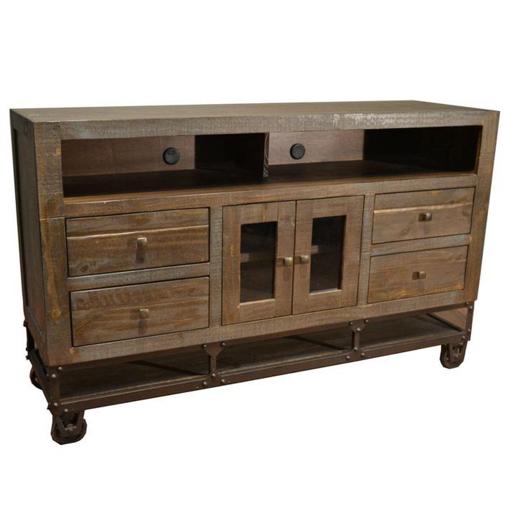 "Greenview 62"" Forged Iron Base TV Stand"