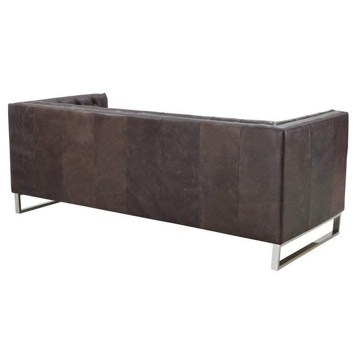 Miranda Contemporary Chesterfield Sofa - Dark Brown Leather