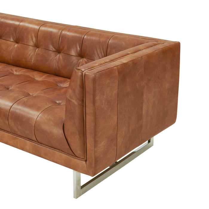 NEW! Taylor Contemporary Tufted Sofa - Light Brown Leather
