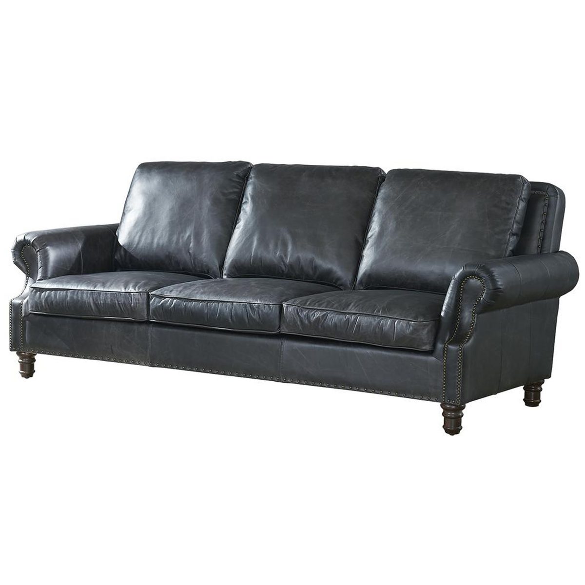 English Rolled Arm Sofa Slate Leather Crafters And Weavers