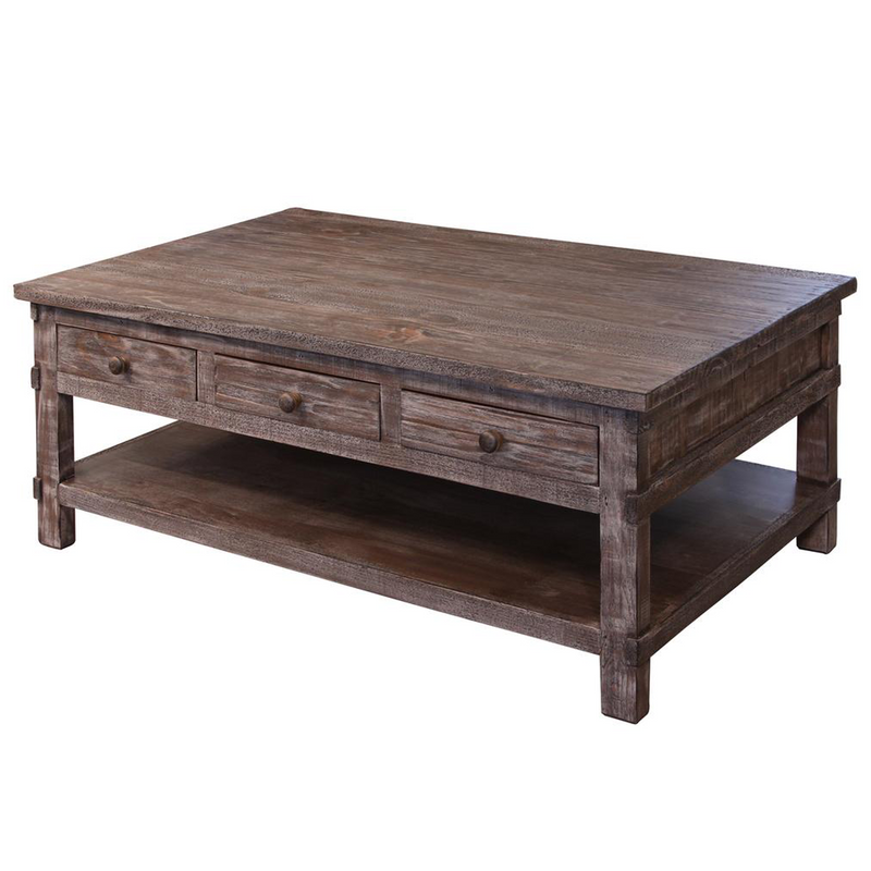 Grey Solid Wood Coffee Table: Weathered Gray 6 Drawer Solid Wood Farmhouse Style Coffee