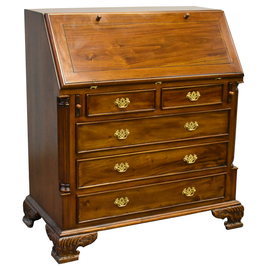 Legacy 5 Drawer Secretary Desk - Brown Walnut