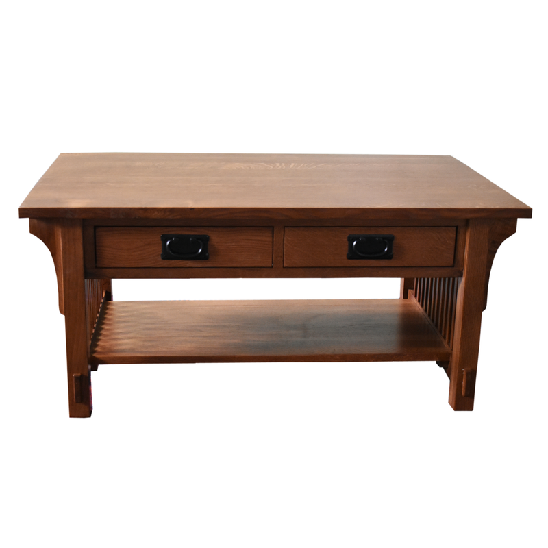 Mission Style Solid Quarter Sawn White Oak Desk Library Table with 5-Drawers & 2-Pull out Writing trays