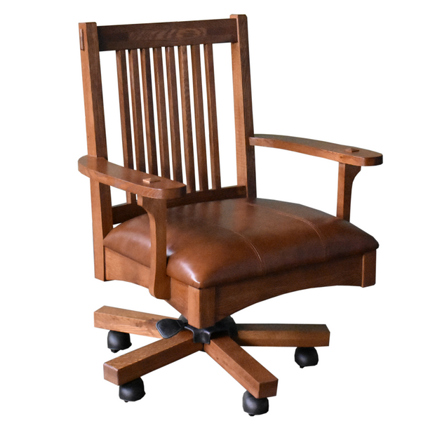 Mission Style Solid Quarter Sawn Oak And Leather Office Chair
