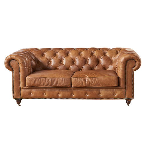 Century Chesterfield Love Seat - Light Brown Leather - Crafters and Weavers