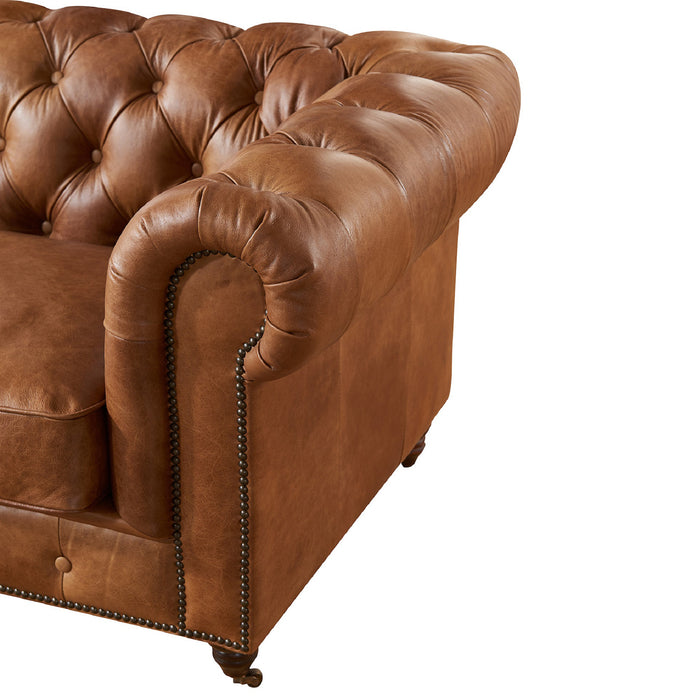 Century Chesterfield Arm Chair - Light Brown Leather