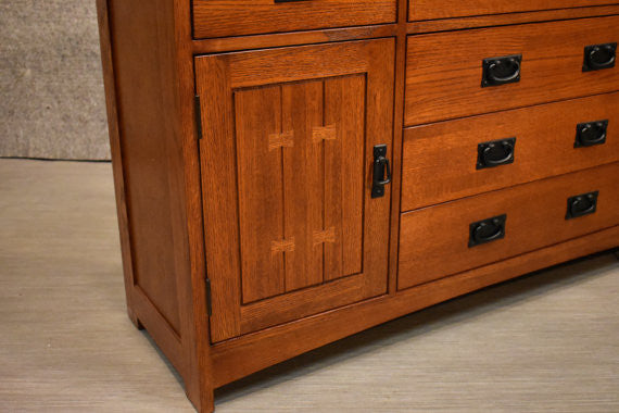 Mission Style / Arts & Crafts Solid Quarter Sawn Oak Sideboard Buffet - Crafters and Weavers