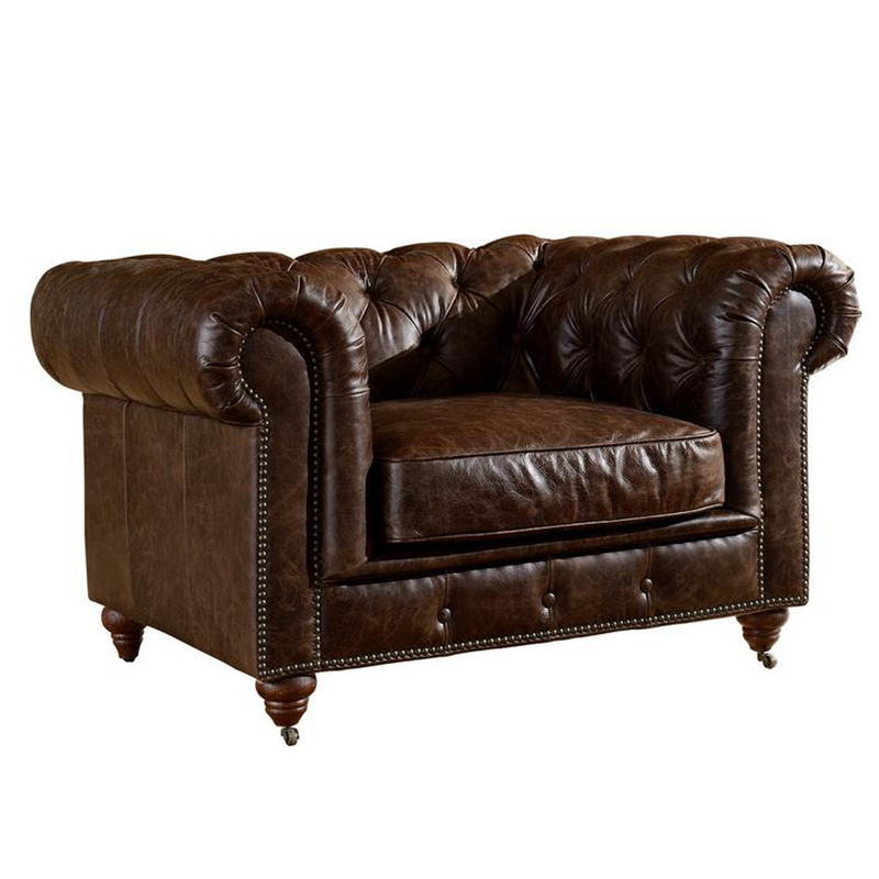 Century Chesterfield Arm Chair - Dark Brown Leather