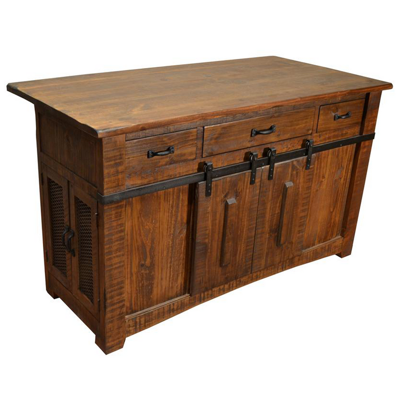 Mission Quarter Sawn Oak 6 Drawer Sideboard - Golden Brown