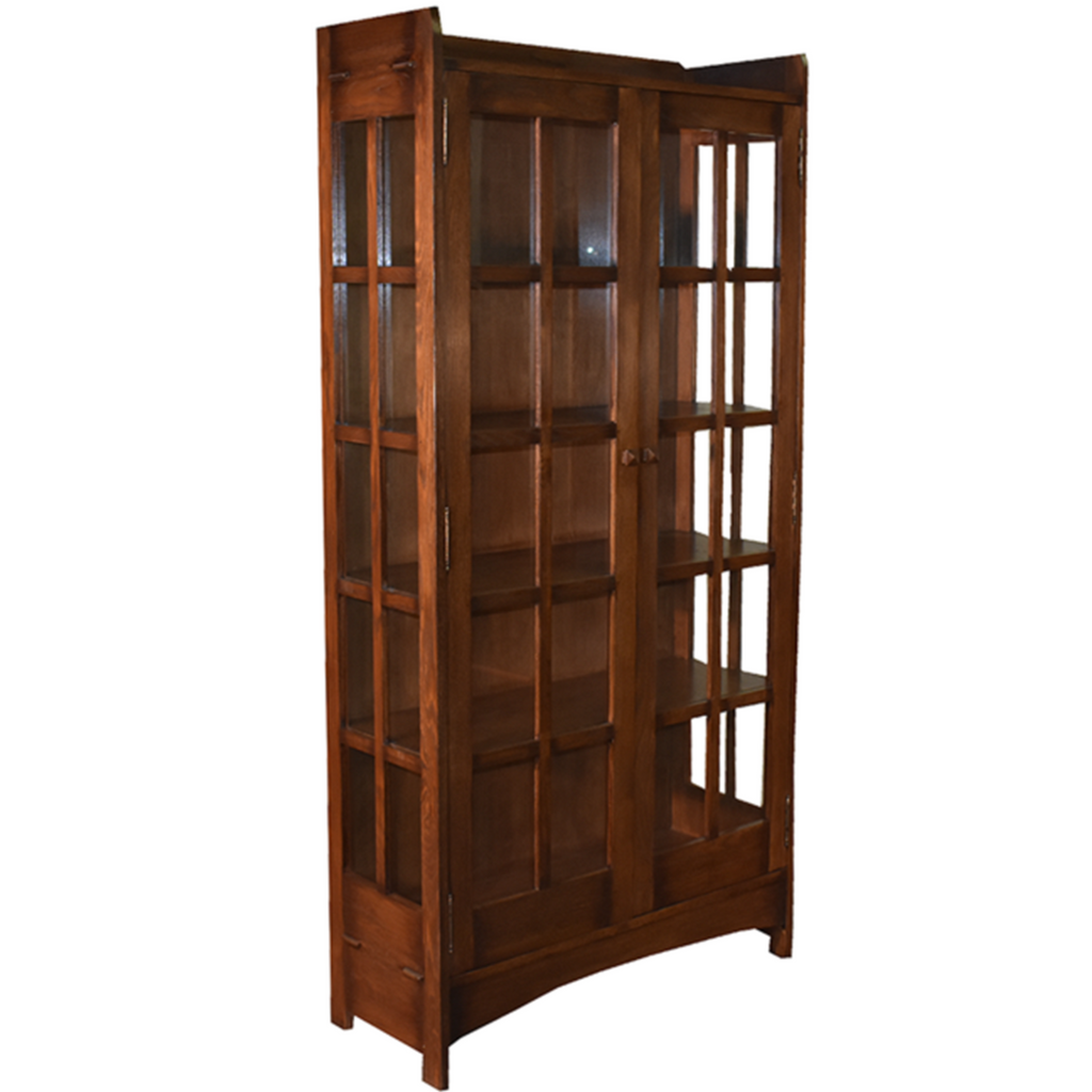 Mission Oak Display China Cabinet / Bookcase - Dark Walnut