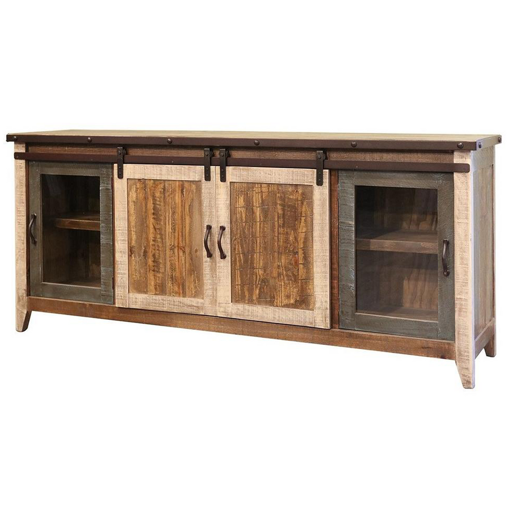 GREENVIEW SLIDING DOOR DISTRESSED Mutlicolor TV STAND - 80 INCH