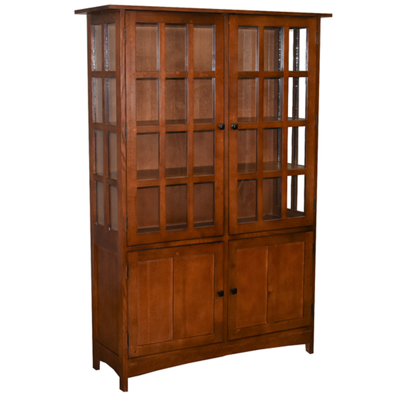 Mission Oak 4 Door Display China Cabinet - Golden Brown