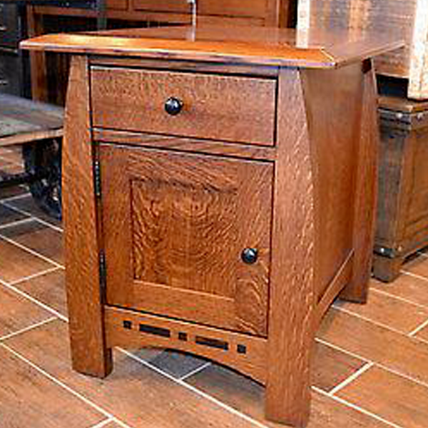 Amish Mission 1 Door 1 Drawer Inlay End Table