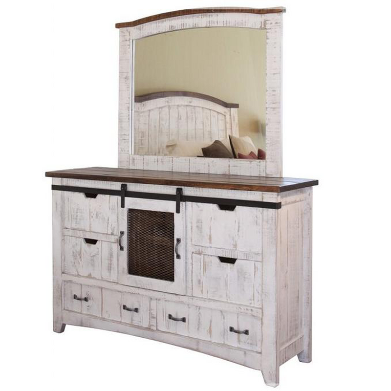 Greenview Sliding Door Dresser - Distressed White