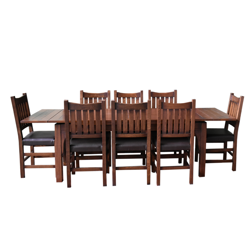 Mission Stow Leaf Table with #240 Chair Dining Set - Dark Oak