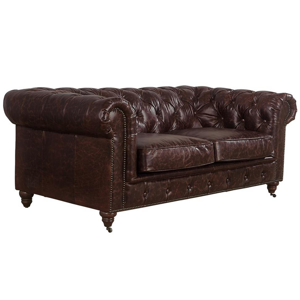 Century Chesterfield Love Seat - Reddish Brown Leather