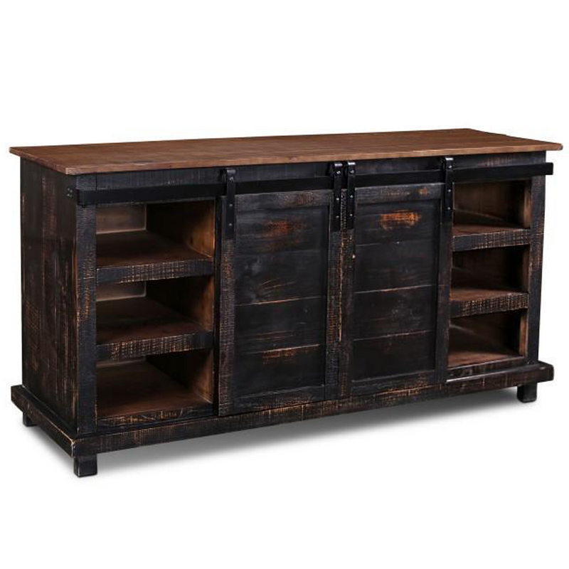 "Westgate 66"" Sliding Door TV Stand - Rustic Black"