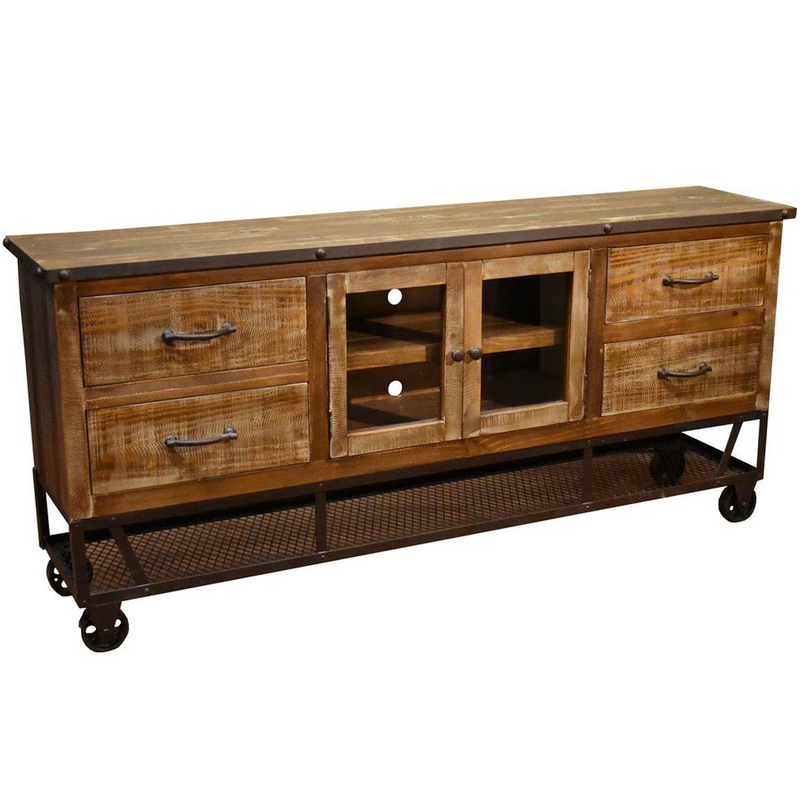 Solid Wood Tv Credenza: Rustic Distressed Reclaimed Solid Wood Credenza / TV Stand