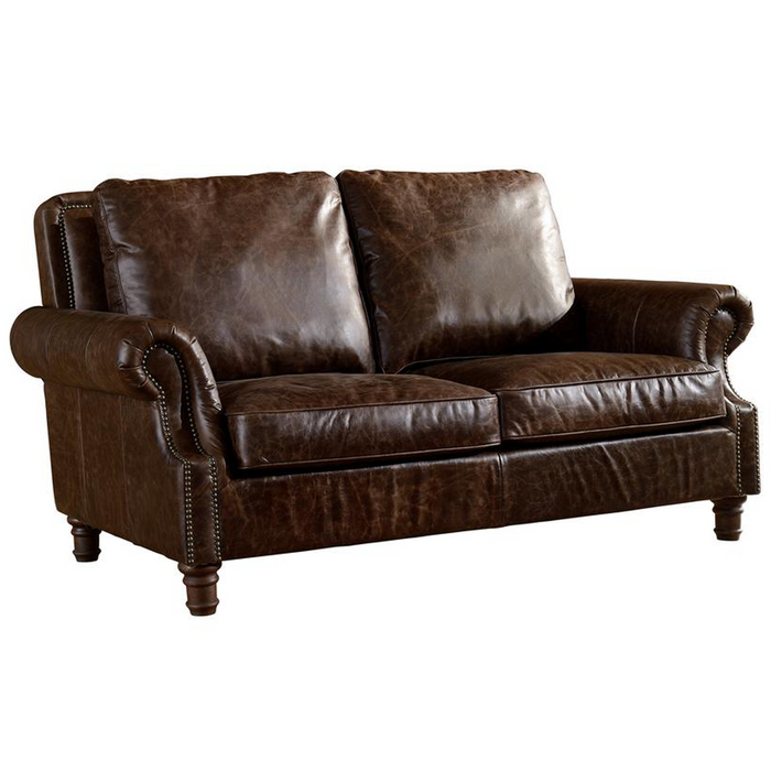 English Rolled Arm Love Seat - Dark Brown Leather