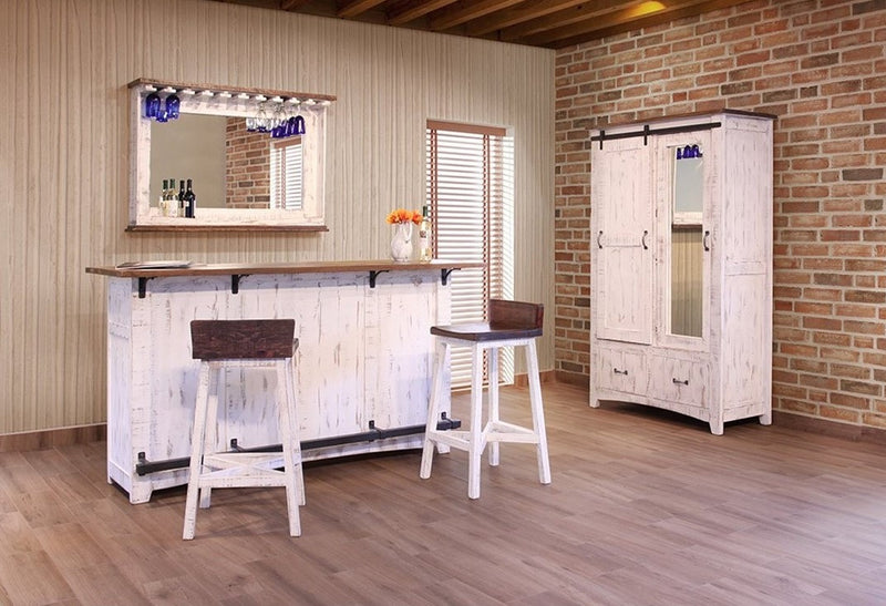 Rustic Distressed Barndoor Solid Wood White Bar Counter