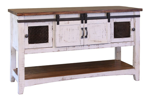 Greenview Sliding Door Console Table - Distressed White