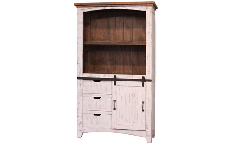 Greenview Sliding Door Bookcase - Distressed White