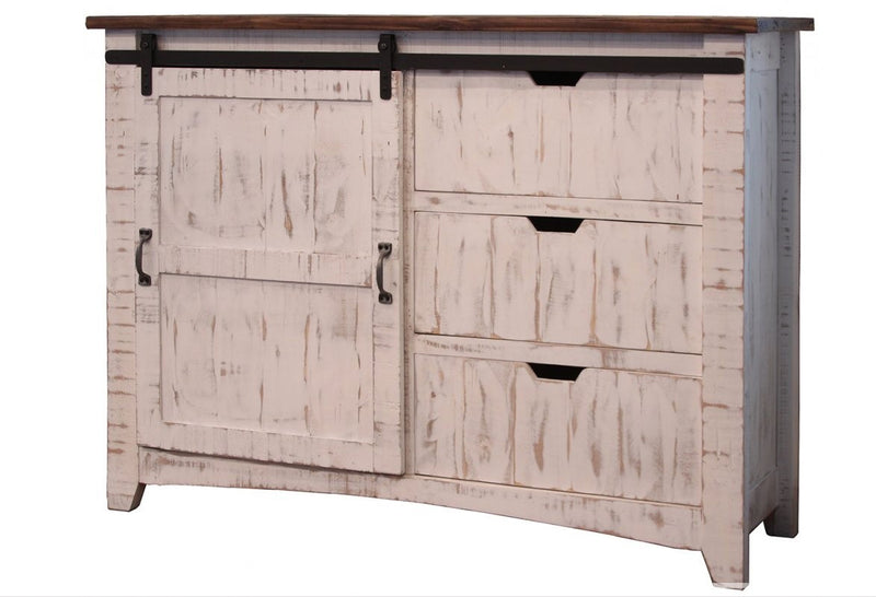 Rustic Farmhouse Solid Distressed White Wood Dresser Console