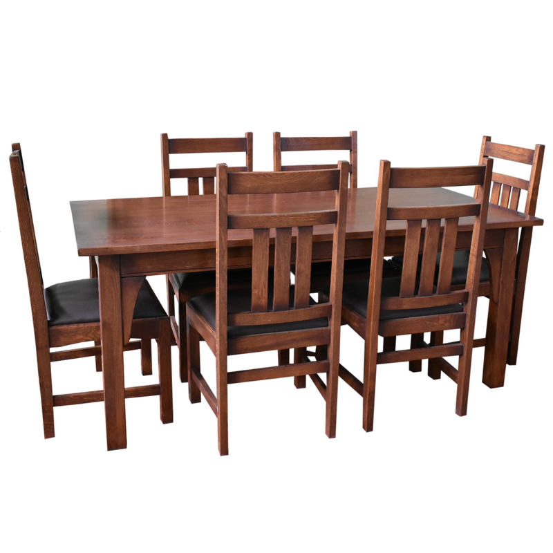"Mission 70"" Solid Oak Dining Table Set with 6 #401 Chairs"