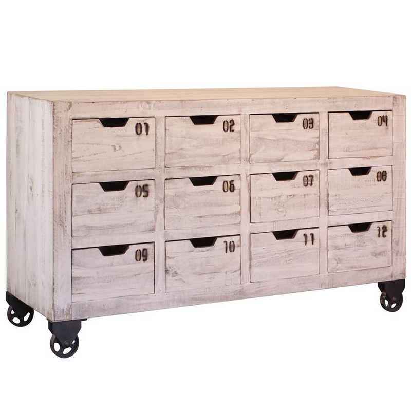 Bayshore 12 Drawer Countdown Console / Dresser - Distressed White