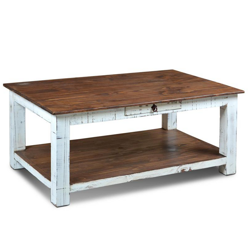 Industrial Coffee Table White: Distressed White Industrial Solid Wood Coffee Table