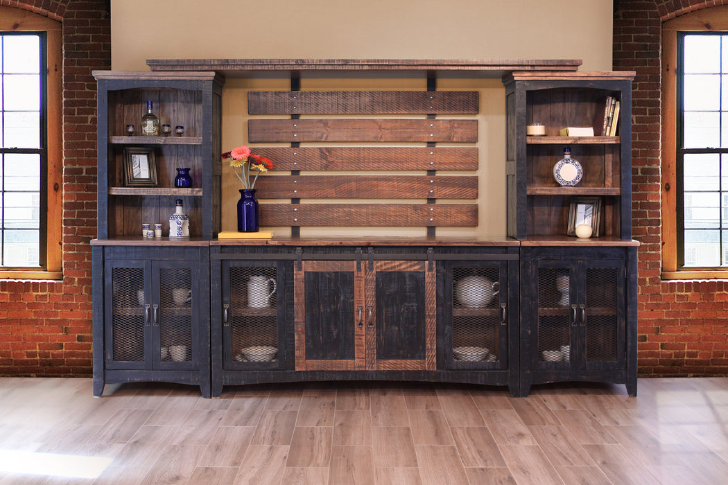 Farmhouse Style Industrial Chic Black Wood Sliding Barn Door TV Stand - Crafters and Weavers