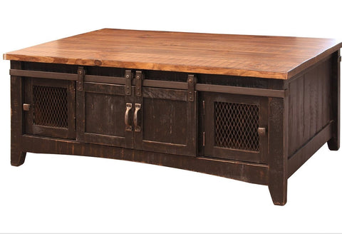 Greenview Sliding Door Coffee Table - Distressed Black