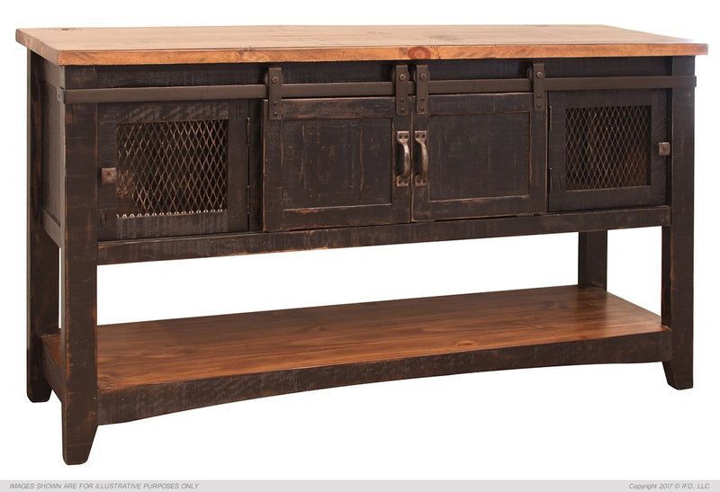 Farmhouse Sliding Door Solid Wood Console Table