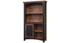 Greenview Sliding Door Bookcase - Distressed Black