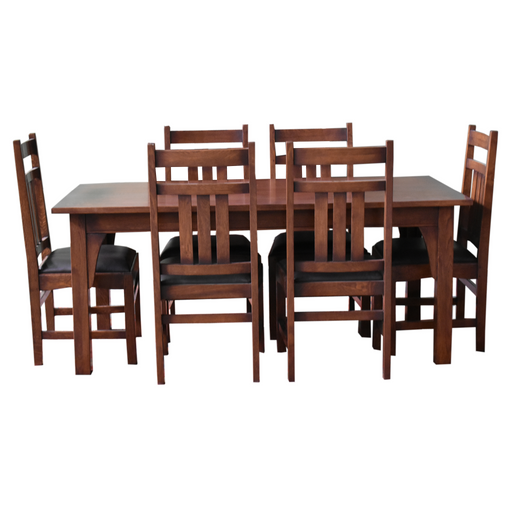 Mission Craftsman Style 70 Solid Oak Dining Table Set With 6 Chairs Crafters And Weavers