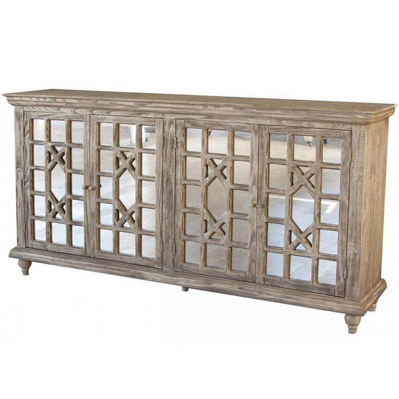 Keystone Weathered Pine Mirrored Console